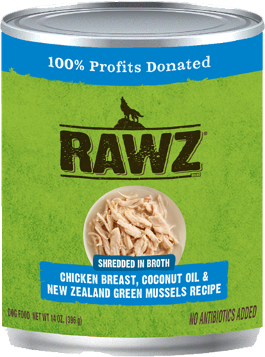 RAWZ Shredded in Broth Chicken Breast, Coconut Oil & New Zealand Green Mussels Wet Dog Food, 14-oz, case of 12