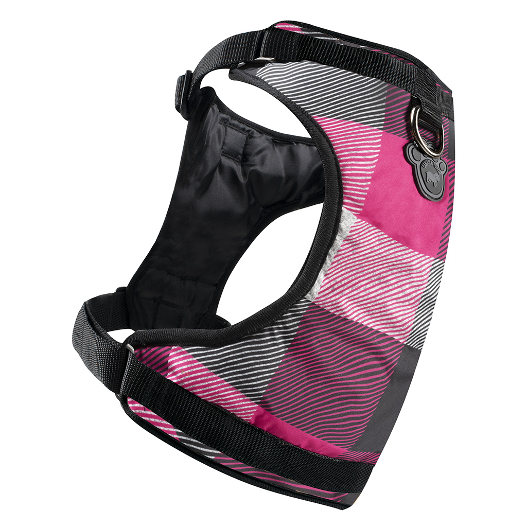 Canada Pooch The Everything Water-Resistant Dog Harness, Pink Plaid, Small