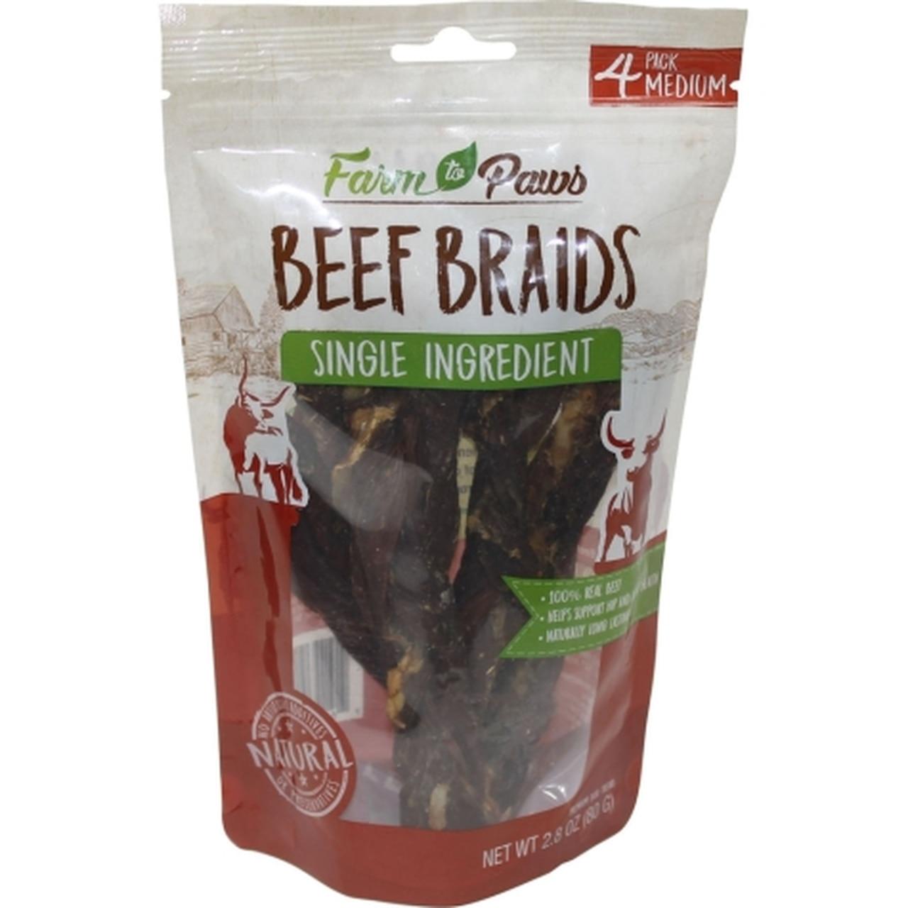 Farm to Paws Beef Braids Dog Treats, Medium, 4-pk