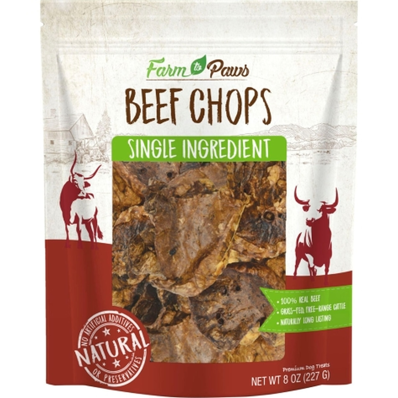 Farm to Paws Beef Chops Dog Treats, 8-oz