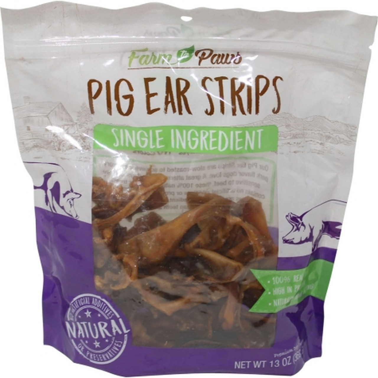Farm to Paws Pig Ear Strips Dog Treats, 13-oz