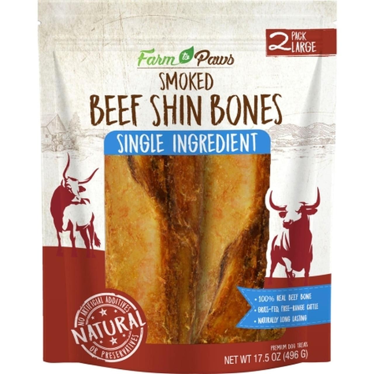 Farm to Paws Smoked Shin Bones Dog Treats, Large, 2-pk