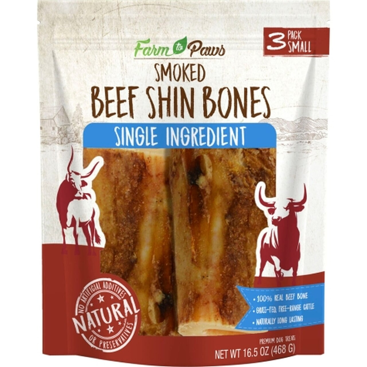 Farm to Paws Smoked Shin Bones Dog Treats, Medium, 3-pk