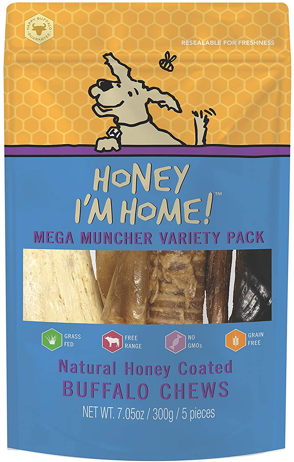 Honey I'm Home Mega Muncher Variety Pack Dog Treats, 5-count