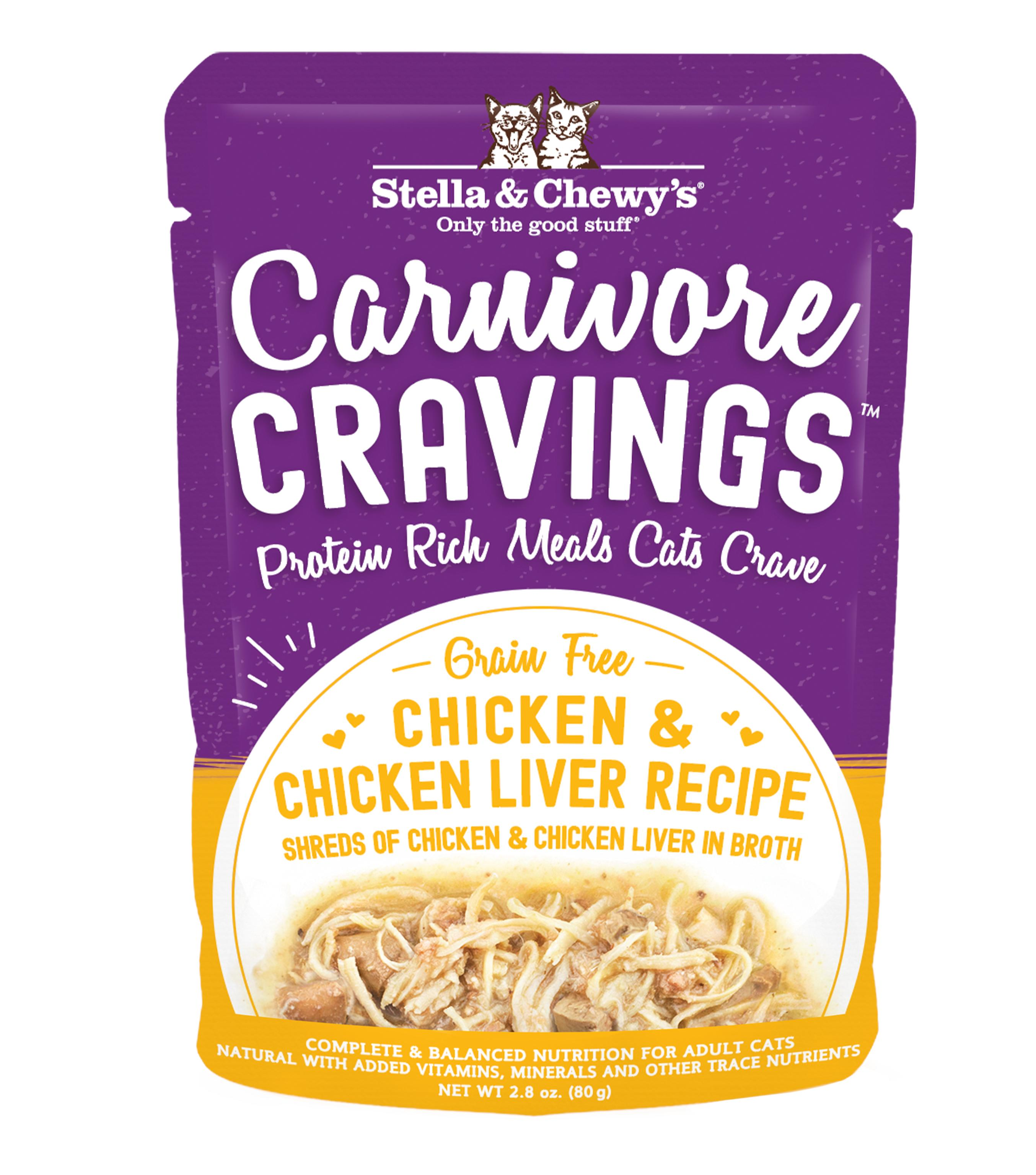 Stella & Chewy's Carnivore Cravings Chicken & Chicken Liver Wet Cat Food, 2.8-oz pouch