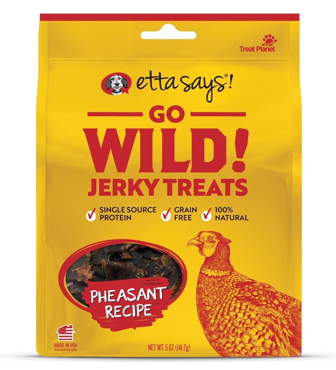 Etta Says! Go Wild! Pheasant Recipe Jerky Dog Treats, 5-oz