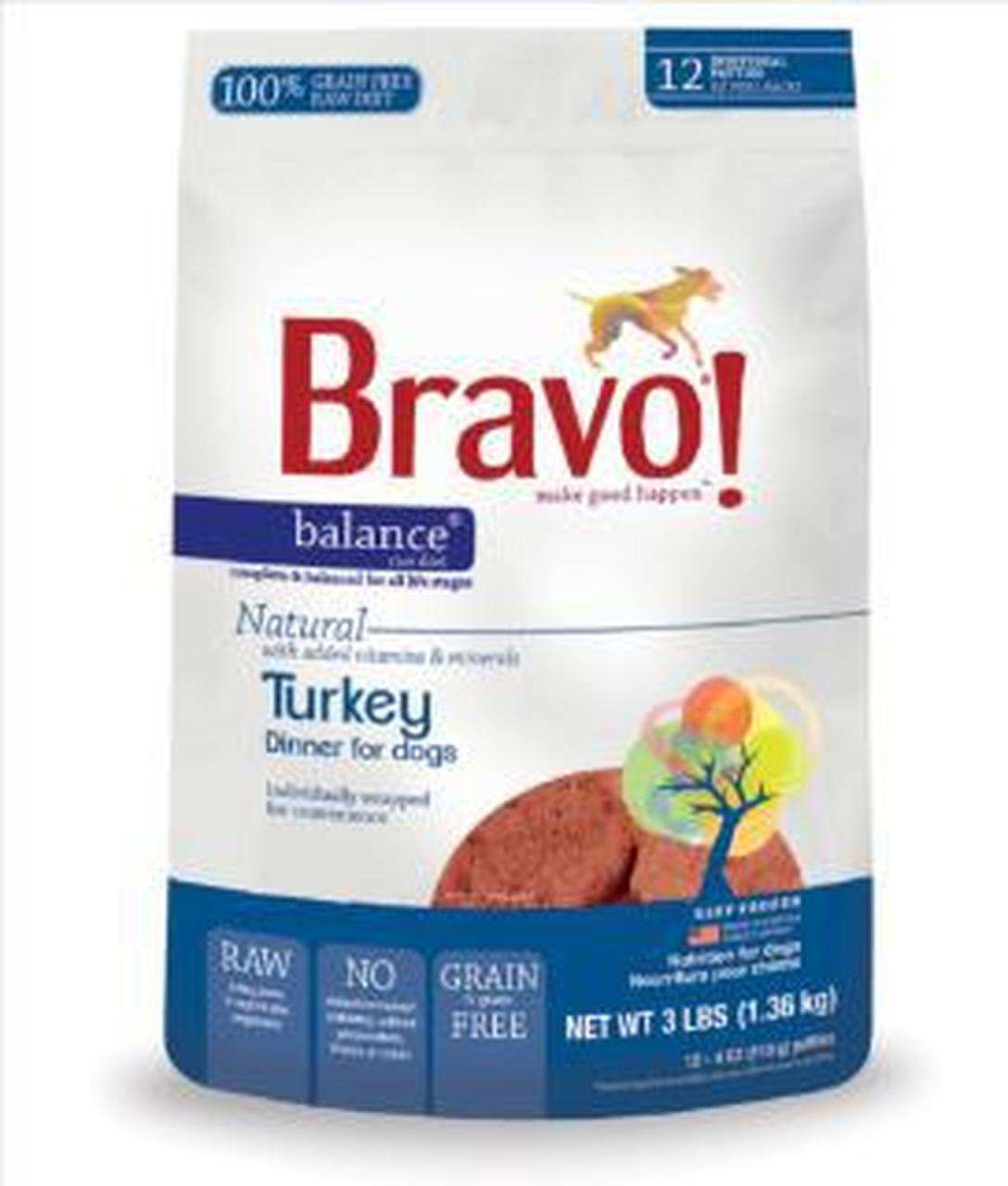 Bravo Blends Turkey Patties Raw Frozen Dog Food, 5-lb