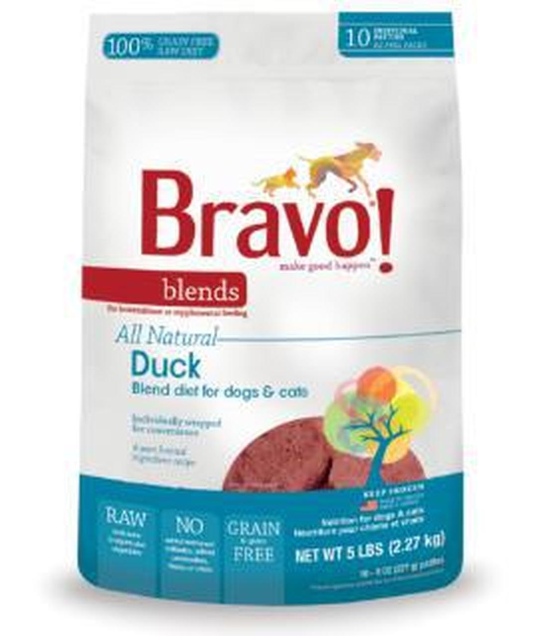 Bravo Blends Duck Patties Raw Frozen Dog Food, 5-lb