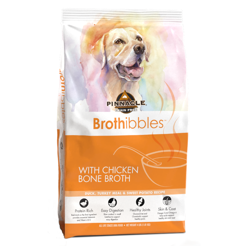 Pinnacle Brothibbles Duck Turkey Meal & Sweet Potato Recipe with Chicken Bone Broth Dry Dog Food, 4-lb