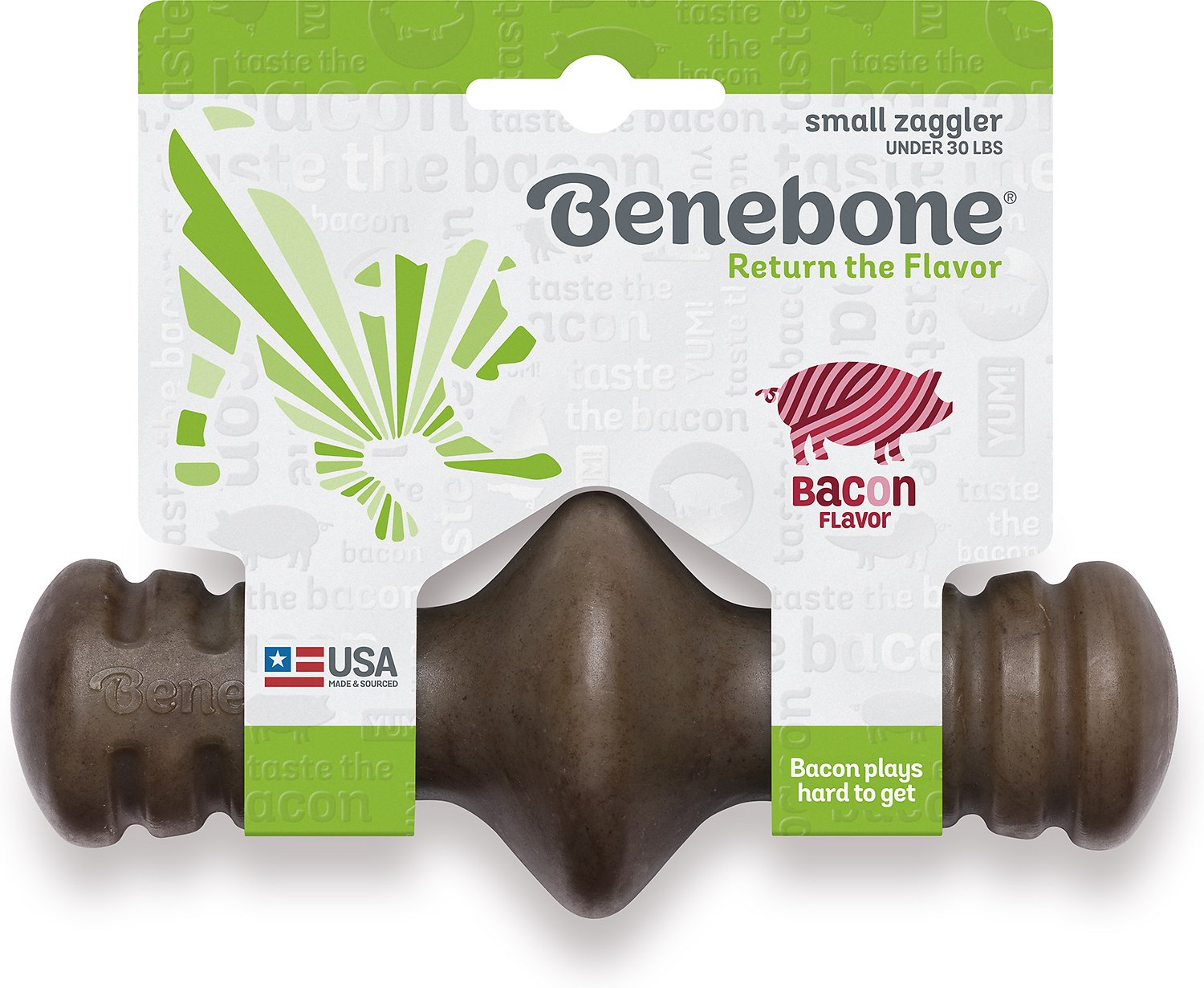 Benebone Zaggler Bacon Flavored Dog Toy, Small
