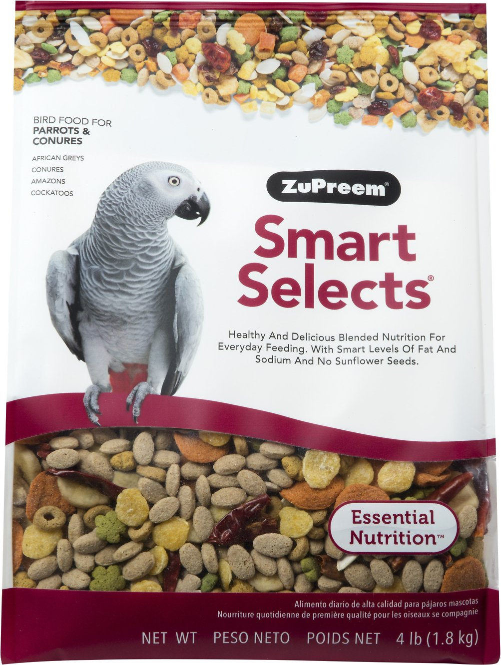 ZuPreem Smart Selects Parrot & Conure Bird Food, 4-lb bag Image