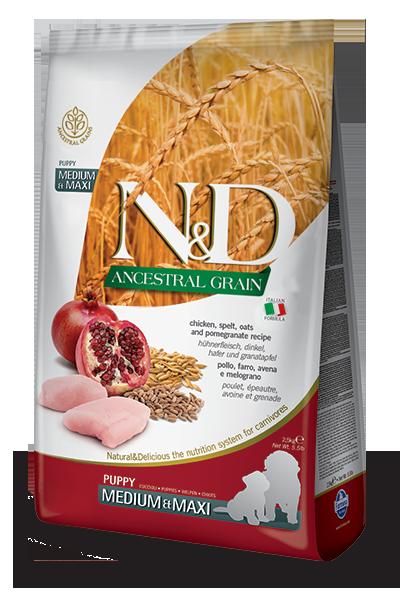 Farmina N&D Ancestral Grain Chicken & Pomegranate Medium & Maxi Puppy Dry Dog Food, 26.4-lb