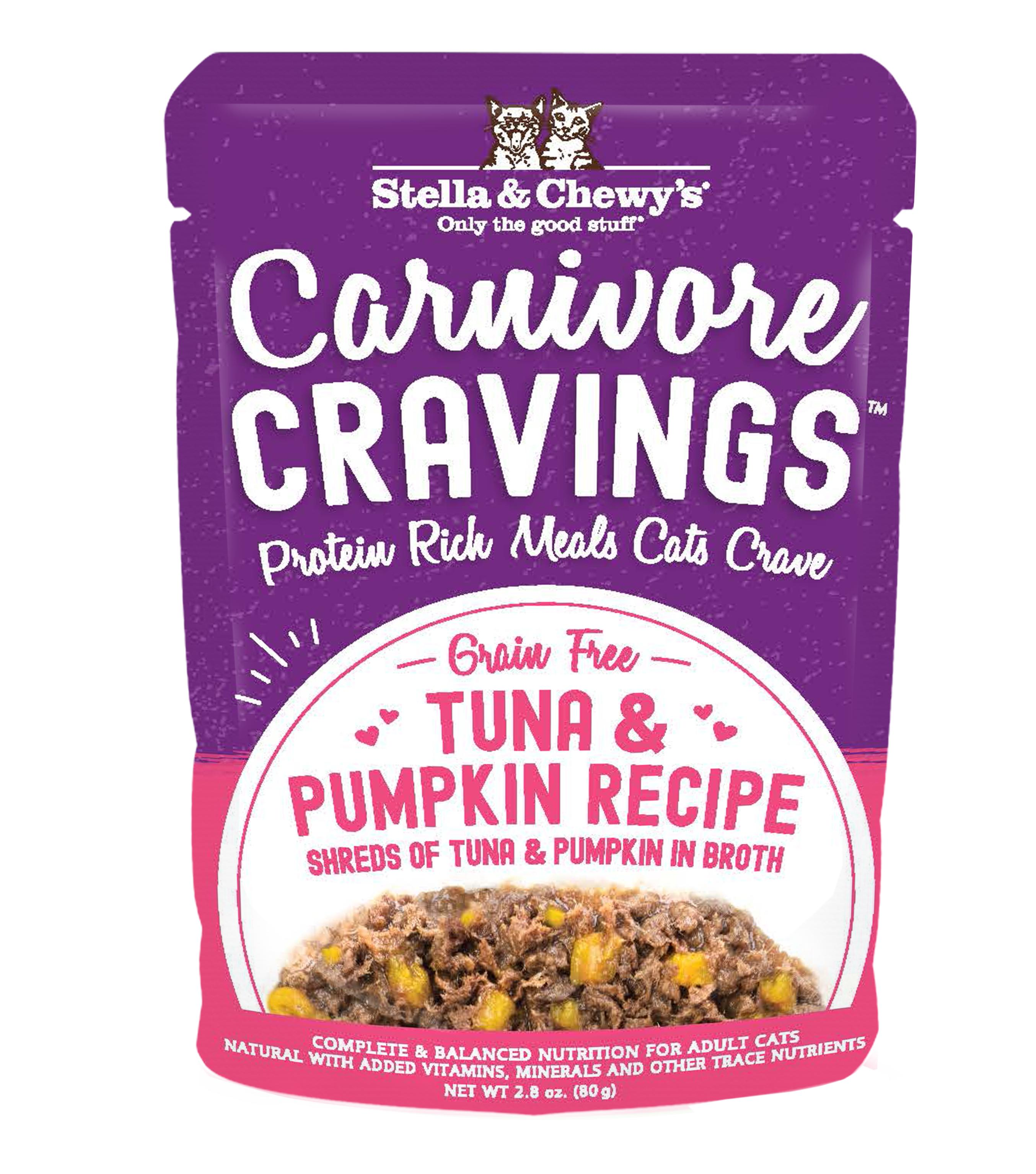 Stella & Chewy's Carnivore Cravings Tuna & Pumpkin Wet Cat Food, 2.8-oz pouch