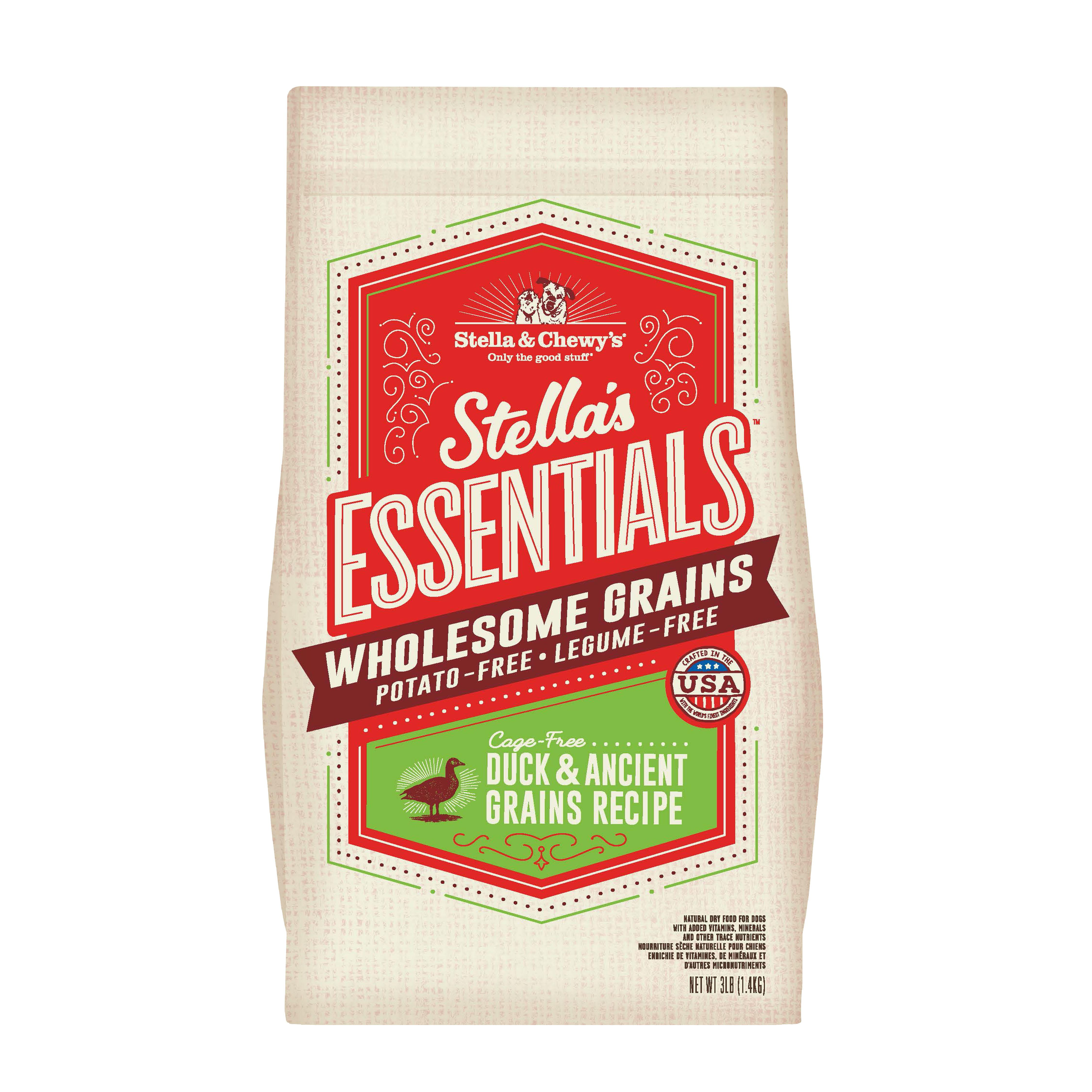 Stella & Chewy's Essentials Wholesome Grains Duck & Ancient Grains Dry Dog Food, 3-lb