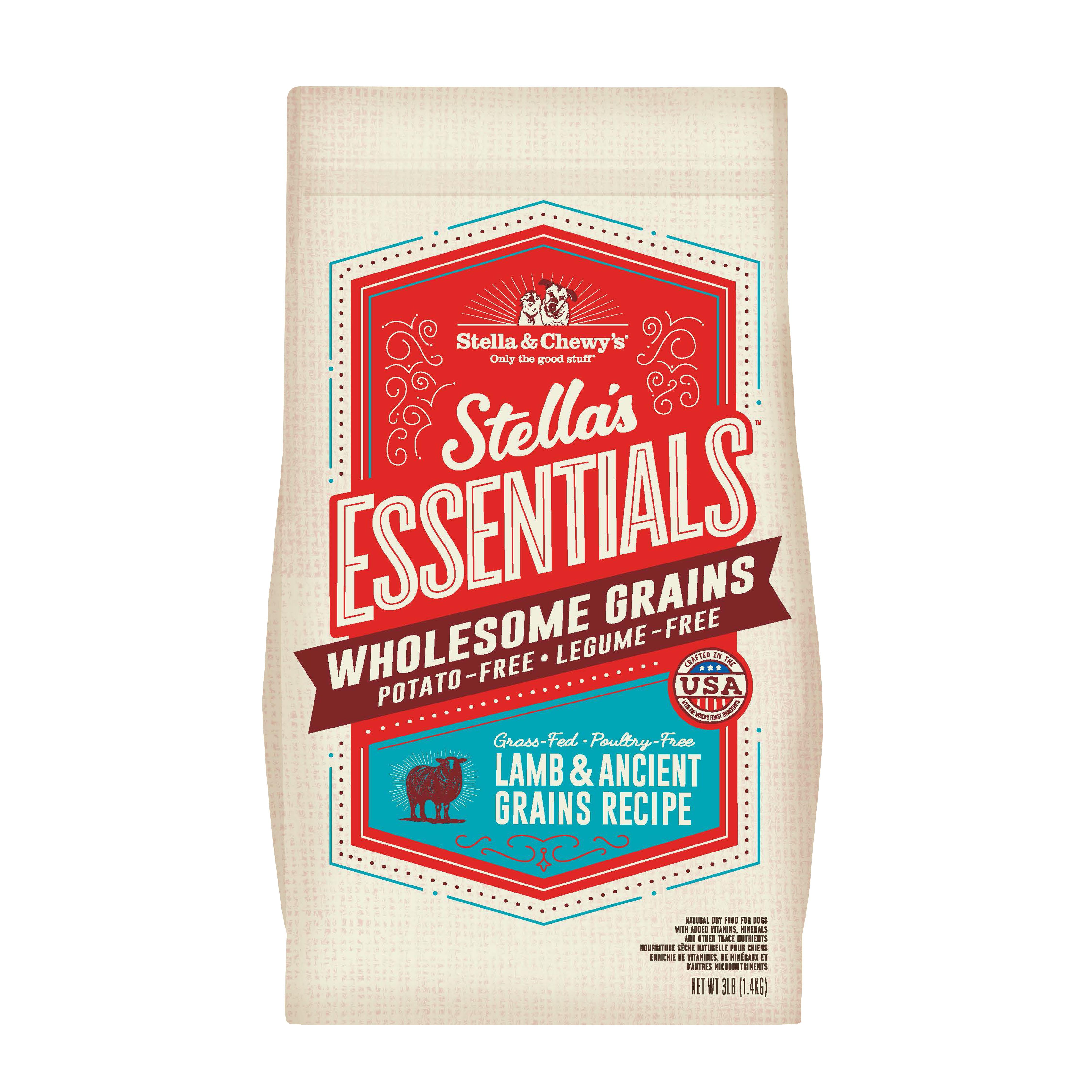 Stella & Chewy's Essentials Wholesome Grains Lamb & Ancient Grains Dry Dog Food, 3-lb