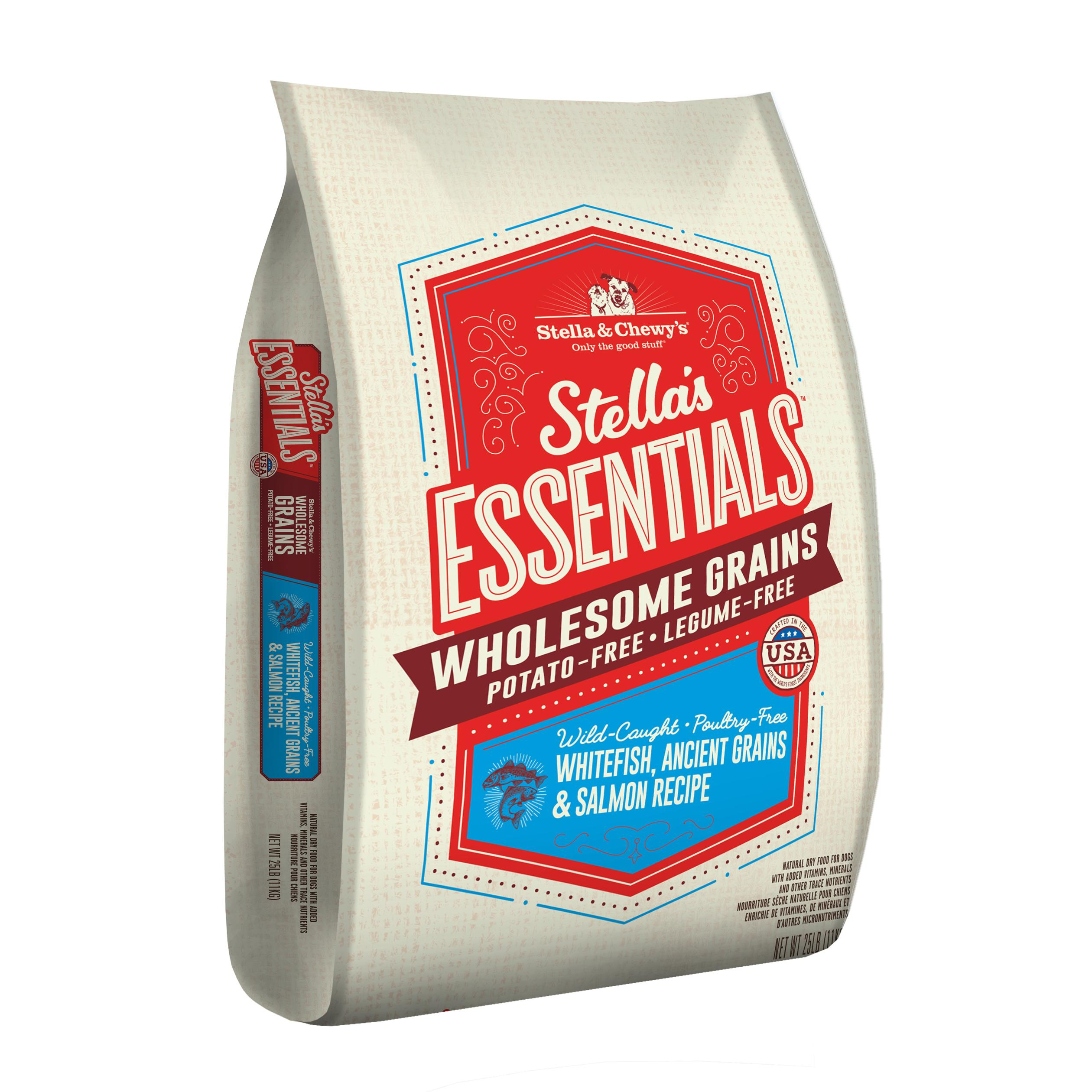 Stella & Chewy's Essentials Wholesome Grains Whitefish, Salmon & Ancient Grains Dry Dog Food, 25-lb