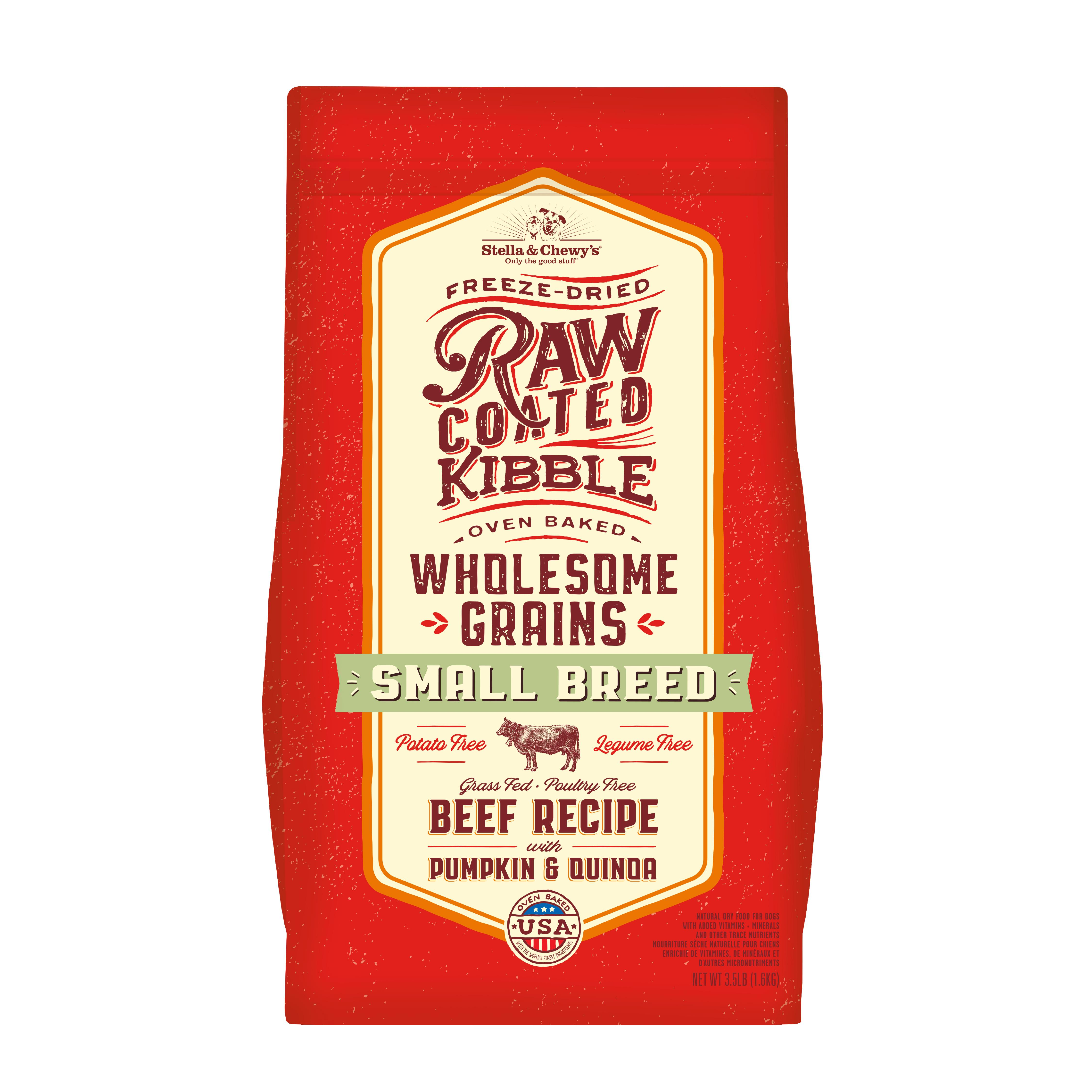 Stella & Chewy's Raw Coated Kibble Wholesome Grains Beef, Pumpkin & Quinoa Small Breed Dry Dog Food, 3.5-lb