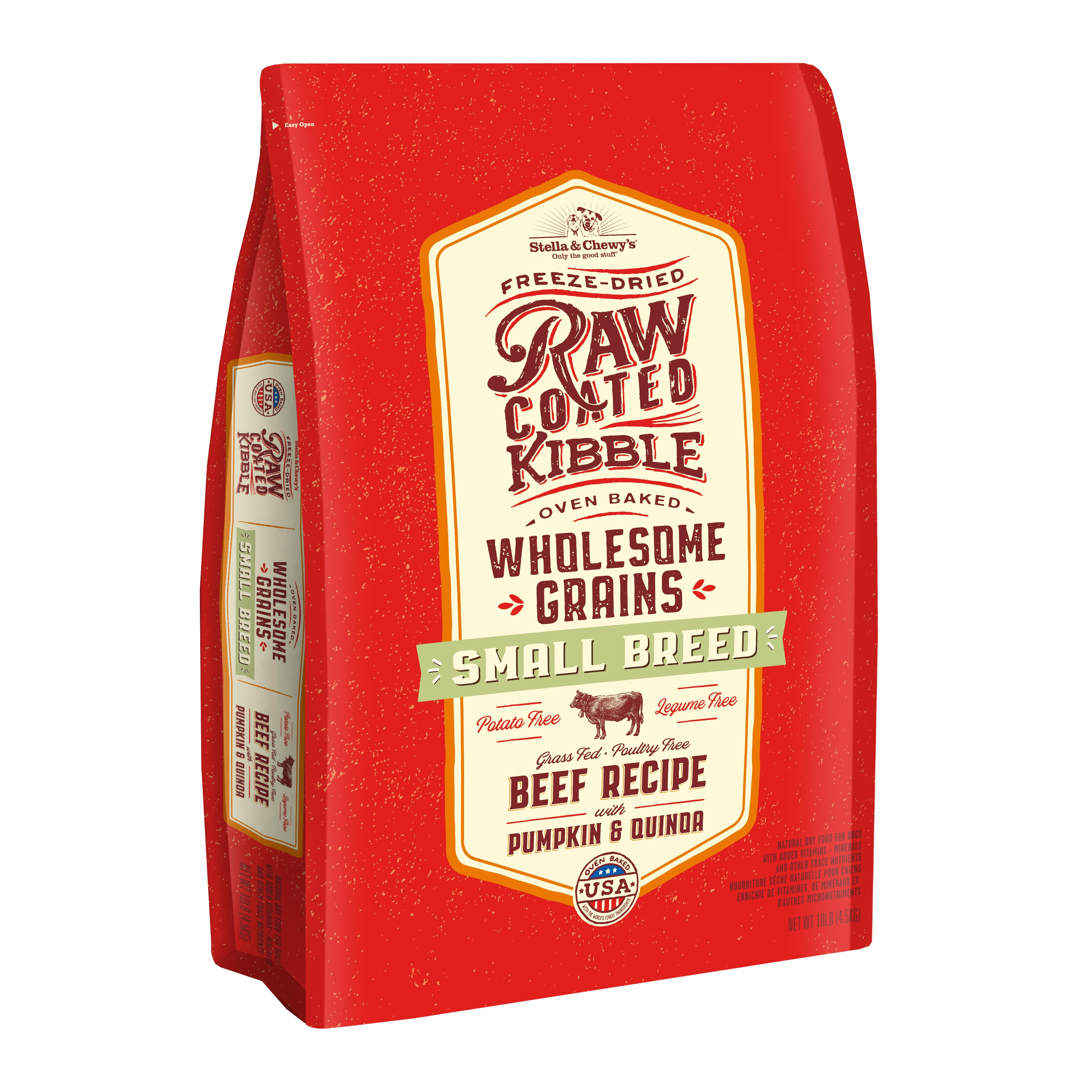 Stella & Chewy's Raw Coated Kibble Wholesome Grains Beef, Pumpkin & Quinoa Small Breed Dry Dog Food, 10-lb