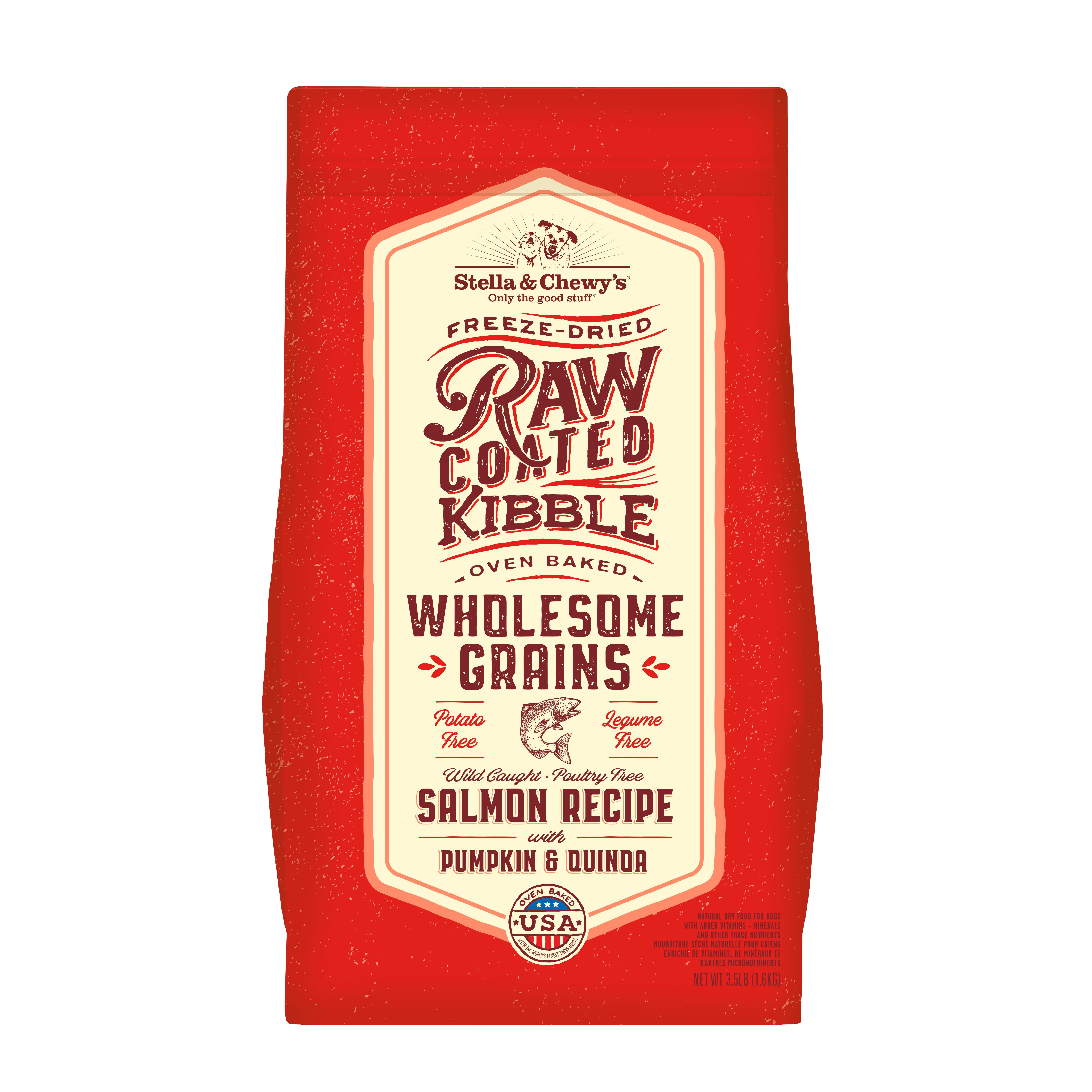 Stella & Chewy's Raw Coated Kibble Wholesome Grains Salmon, Pumpkin & Quinoa Dry Dog Food, 3.5-lb