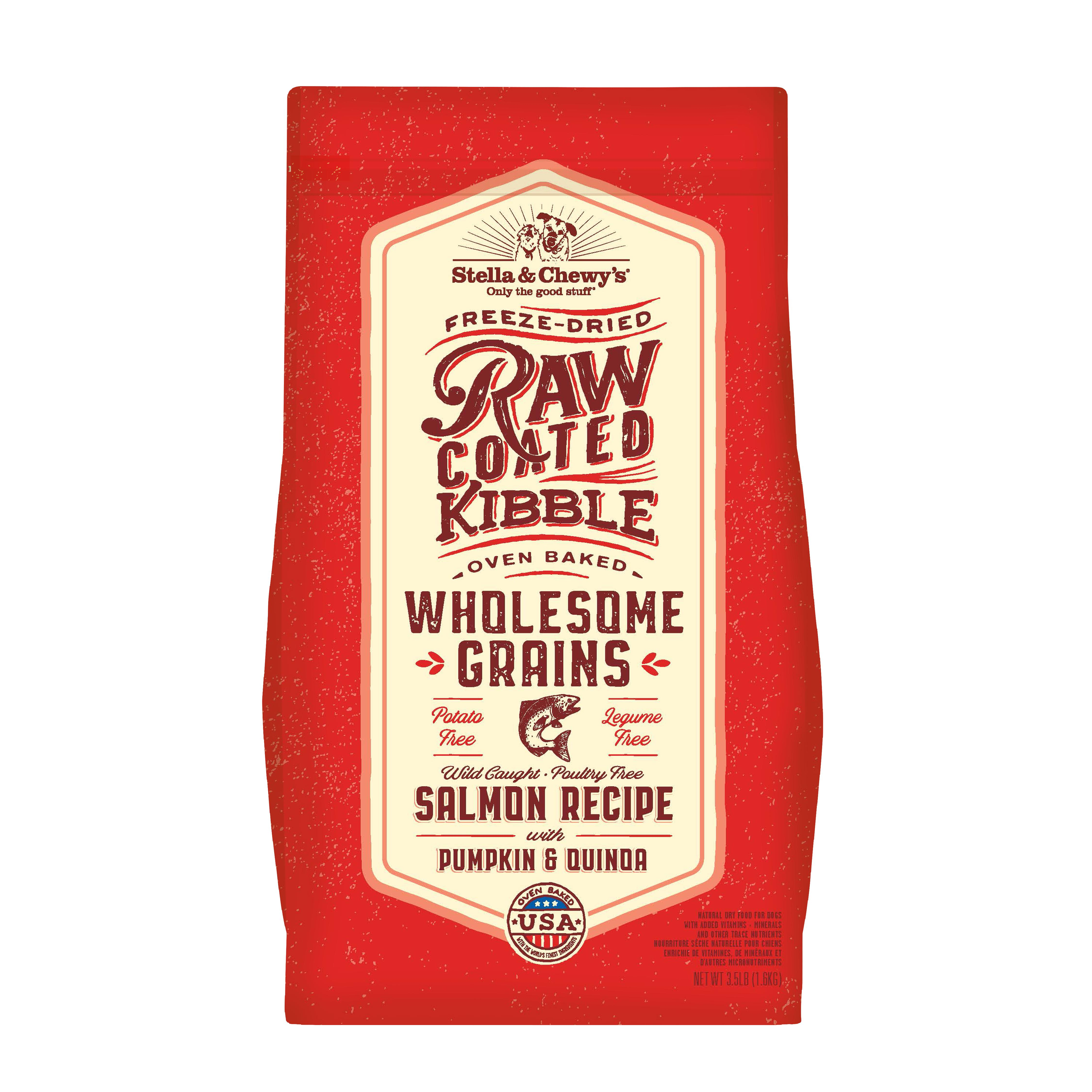 Stella & Chewy's Raw Coated Kibble Wholesome Grains Salmon, Pumpkin & Quinoa Dry Dog Food, 22-lb