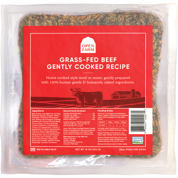 Open Farm Gently Cooked Grass-Fed Beef Recipe Frozen Dog Food Image