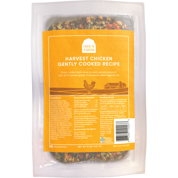 Open Farm Gently Cooked Harvest Chicken Recipe Frozen Dog Food, 8-oz