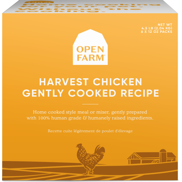 Open Farm Gently Cooked Harvest Chicken Recipe Frozen Dog Food, 12-oz, 6-pack, 4.5-lb