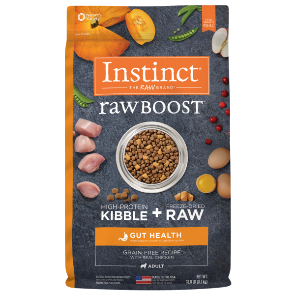 Instinct by Nature's Variety Raw Boost Gut Health Cage-Free Chicken Dry Dog Food, 18-lb
