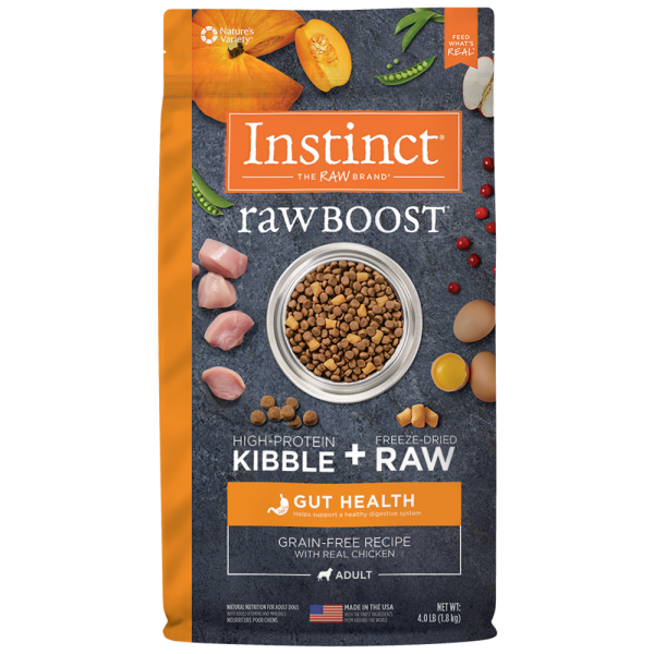 Instinct by Nature's Variety Raw Boost Gut Health Cage-Free Chicken Dry Dog Food, 4-lb
