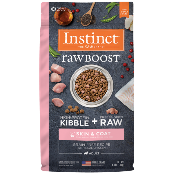 Instinct by Nature's Variety Raw Boost Skin & Coat Cage-Free Chicken Dry Dog Food, 4-lb