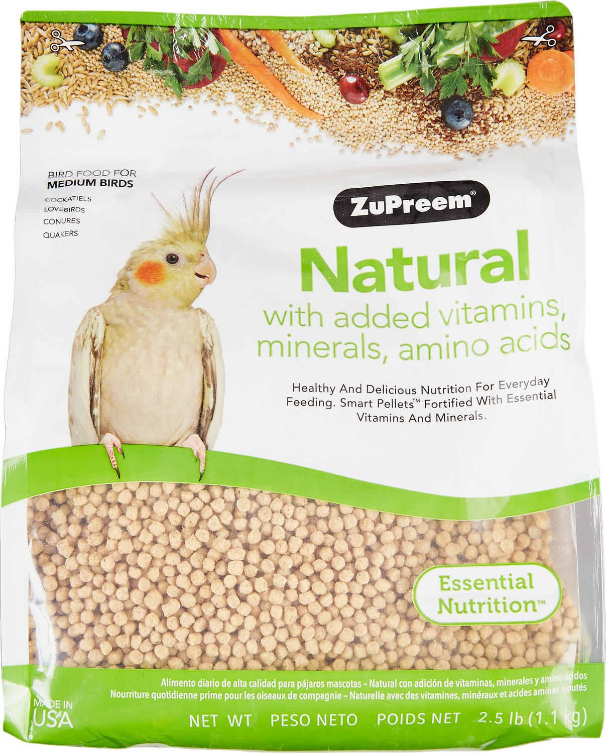 ZuPreem Natural with Vitamins & Minerals Medium Bird Food, 2.5-lb bag Image