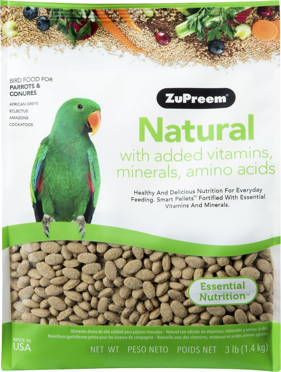 ZuPreem Natural with Vitamins & Minerals Parrot & Conure Bird Food, 3-lb bag Image