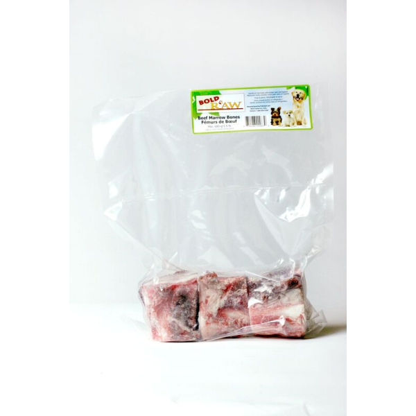 Bold Raw Frozen Beef Marrow Bones Dog Treats, 3-pk