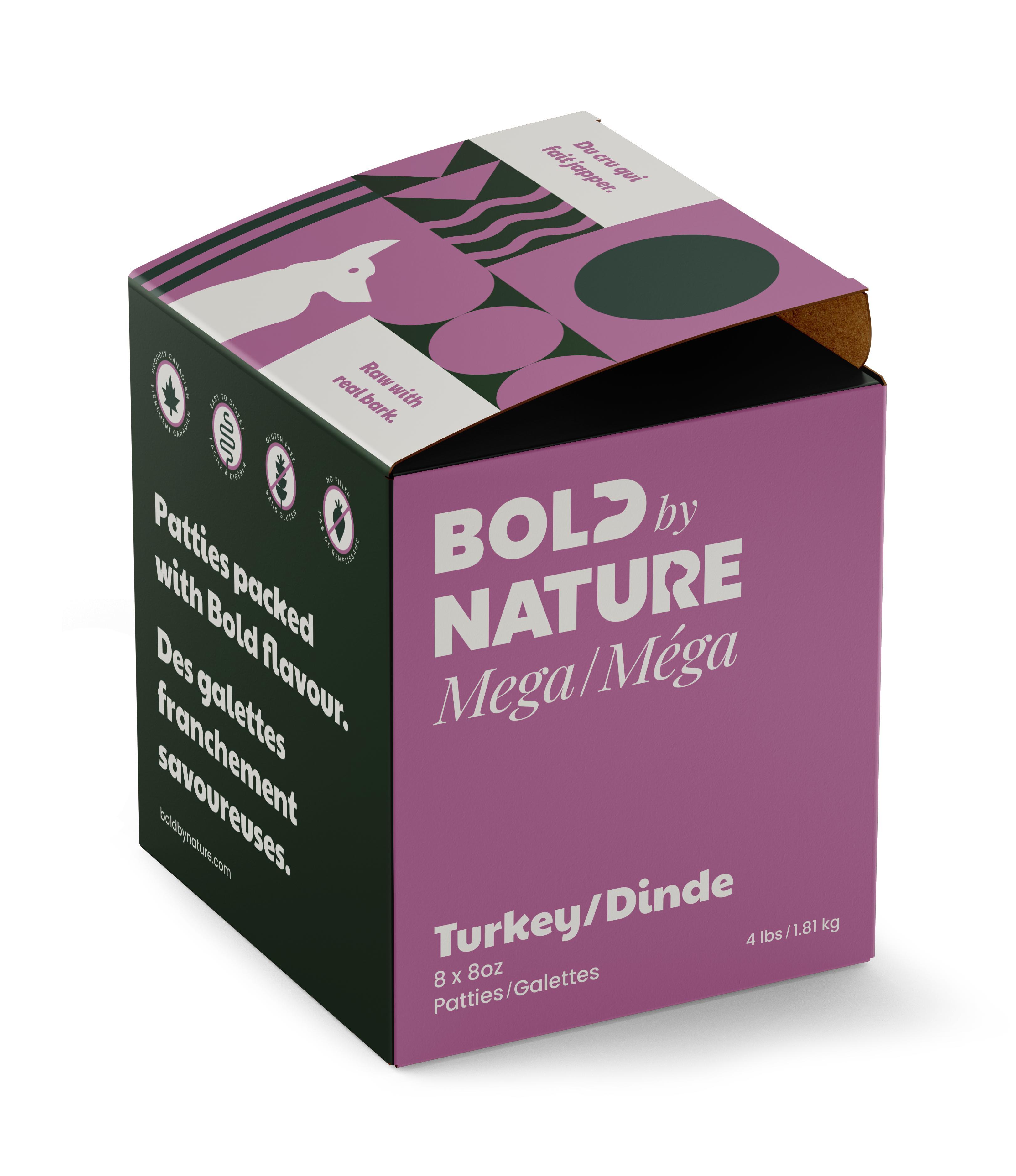 Bold by Nature Dog Mega Turkey Patties, 4-lb