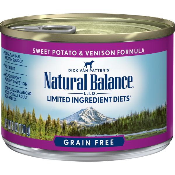 Natural Balance Limited Ingredient Diet Sweet Potato & Venizon Canned Wet Dog Food, 6-oz