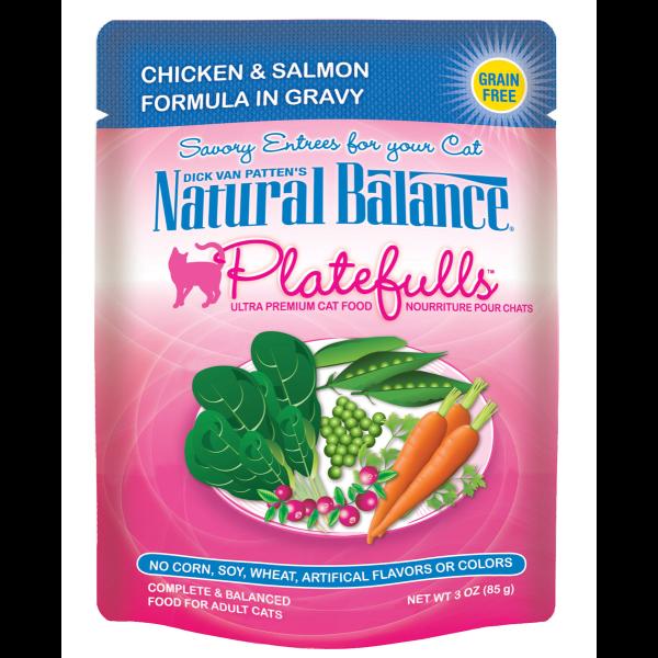Natural Balance Platefulls Chicken & Salmon in Gravy Pouch Wet Cat Food, 3-oz