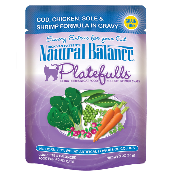 Natural Balance Platefulls Cod, Chicken, Sole & Shrimp in Gravy Pouch Wet Cat Food Image