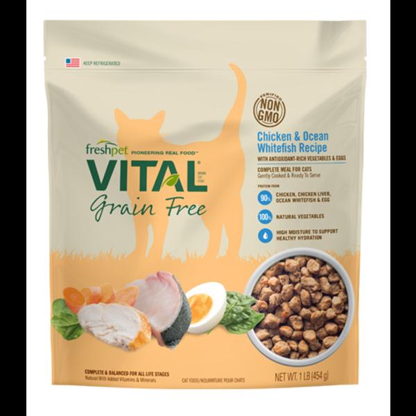 Freshpet Vital Grain-Free Chicken & Ocean Whitefish Complete Recipe Wet Cat Food, 1-lb
