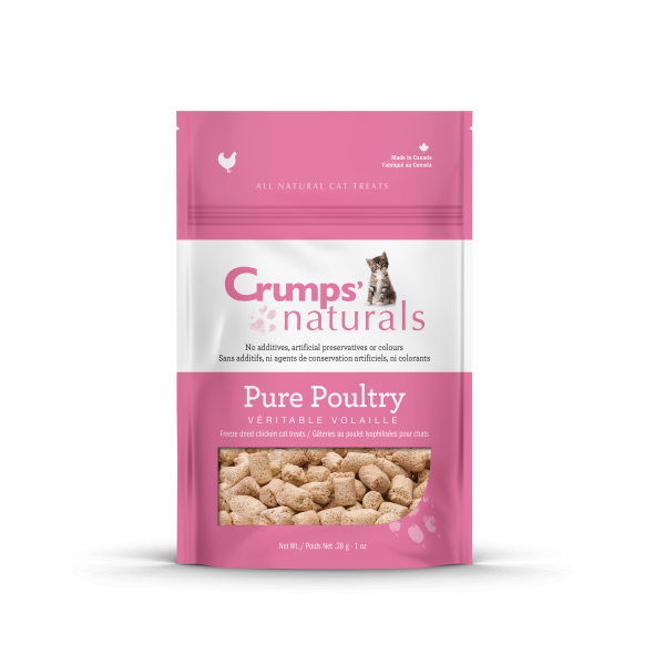 Crumps' Naturals Pure Poultry Chicken Freeze-Dried Cat Treats, 1-oz