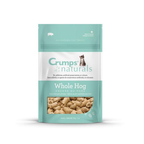 Crumps' Naturals Whole Hog Pork Freeze-Dried Cat Treats, 1-oz