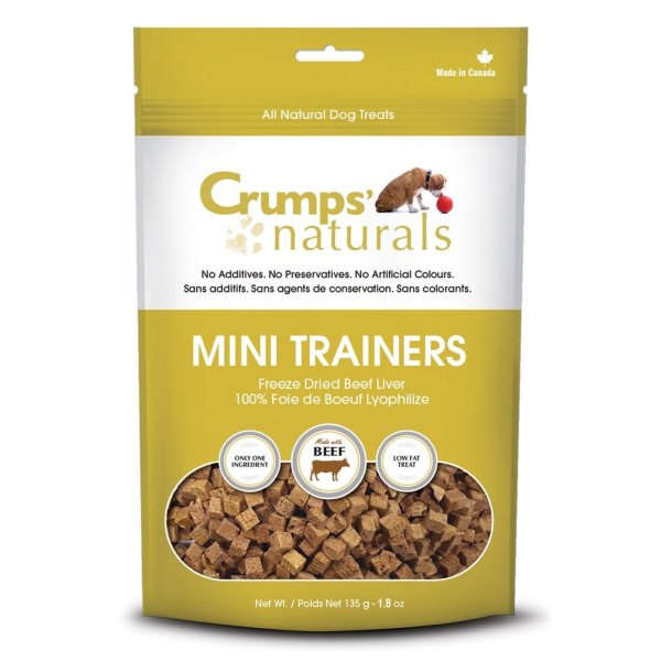 Crumps' Naturals Mini Trainers Beef Liver Freeze-Dried Dog Treats, 1.8-oz