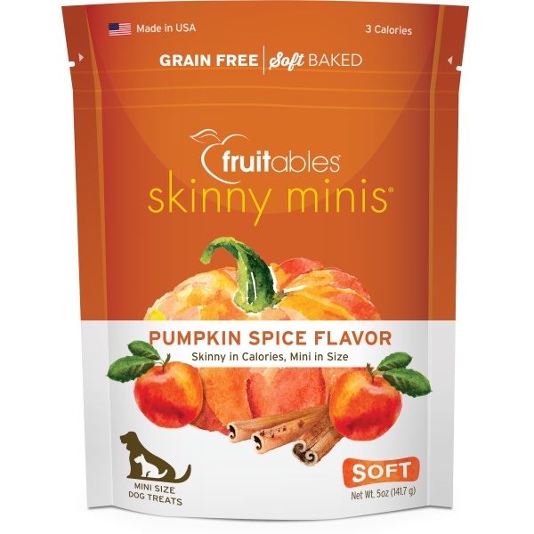 Fruitables Skinny Minis Pumpkin Spice Chewy Dog Treats, 141-gm
