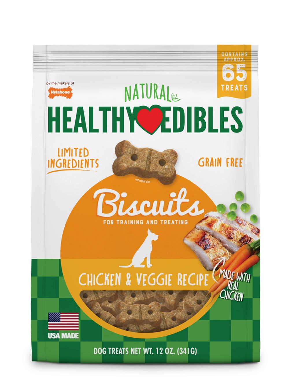 Nylabone Healthy Edibles Biscuits Chicken & Veggie Recipe Dog Treats, 12-oz