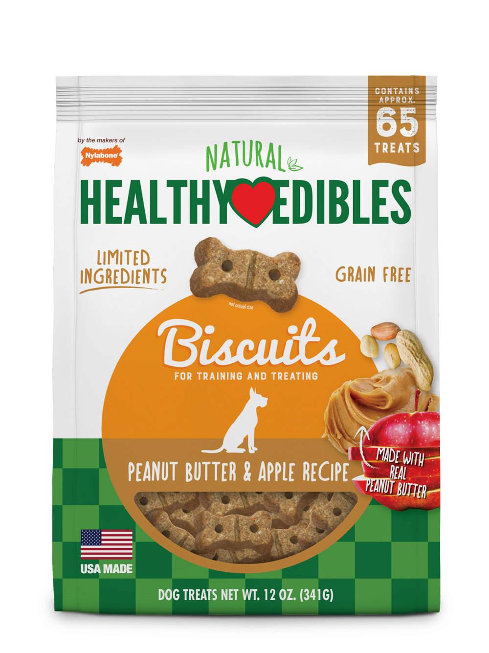 Nylabone Healthy Edibles Biscuits Peanut Butter & Apple Recipe Dog Treats, 12-oz