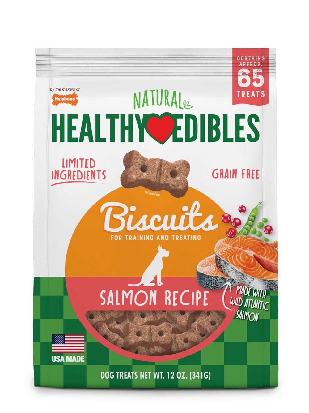 Nylabone Healthy Edibles Biscuits Salmon Recipe Dog Treats, 12-oz