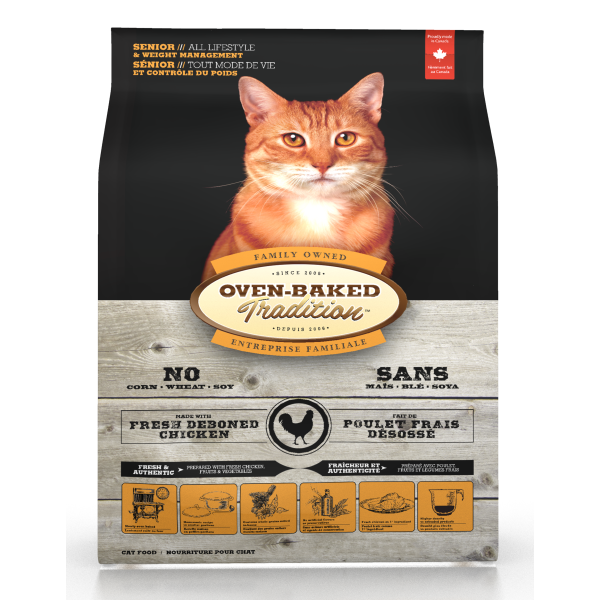 Oven-Baked Tradition Chicken Senior Dry Cat Food, 5-lb
