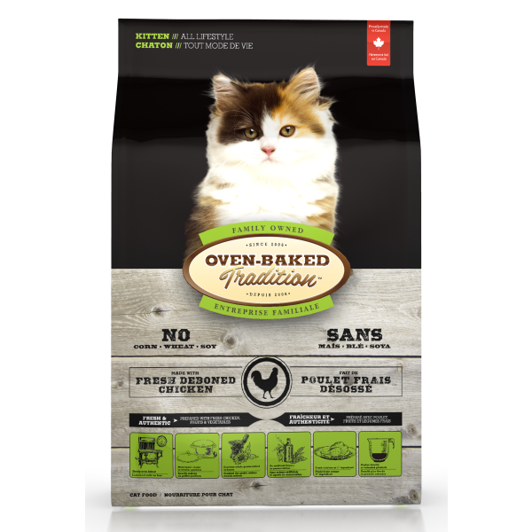 Oven-Baked Tradition Fresh Chicken Formula Dry Cat Food, Kitten, All Lifestyle, 5-lb