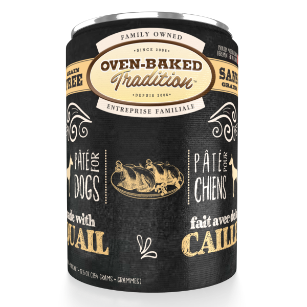 Oven-Baked Tradition Grain-Free Quail Pate Canned Dog Food, Adult, 12.5-oz