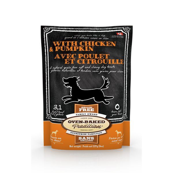Oven-Baked Tradition Grain-Free Chicken & Pumpkin Dog Treats, 8-oz