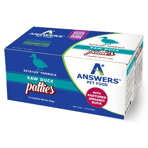 Answers Detailed Formula Raw Duck Patties Frozen Dog Food, 4-lb